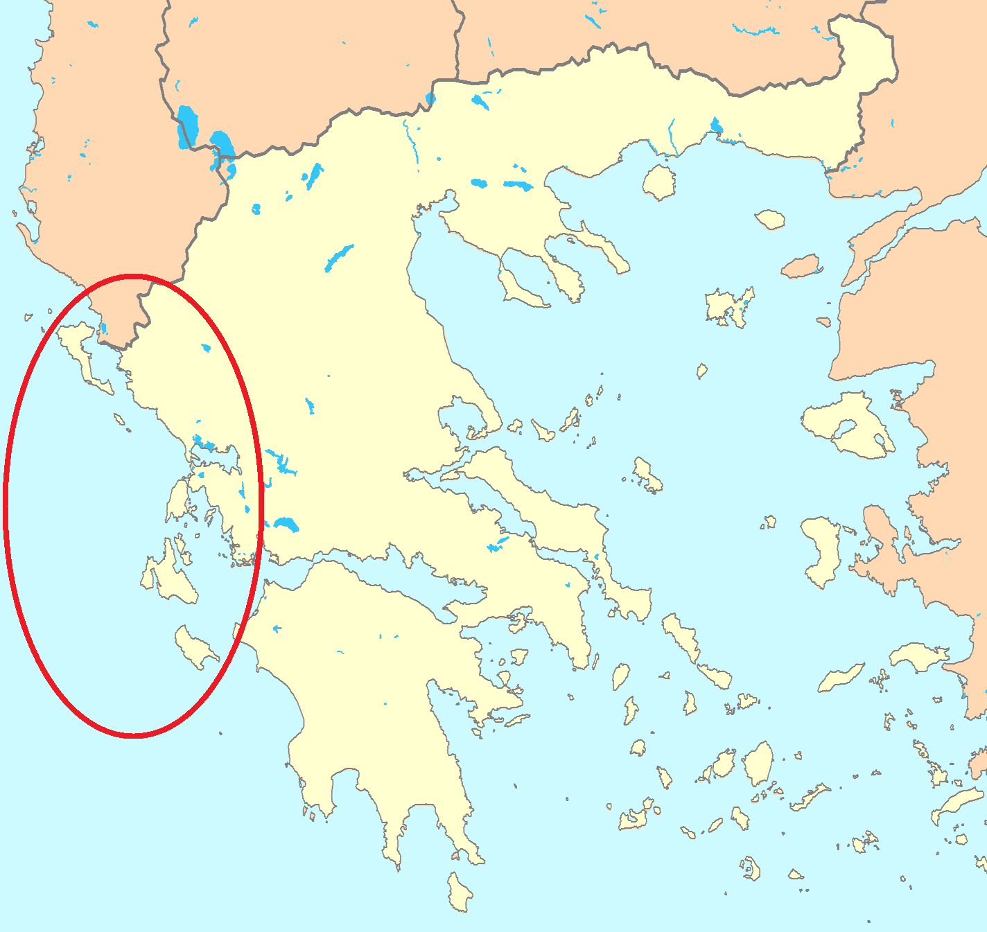 Йонийско море - карта
