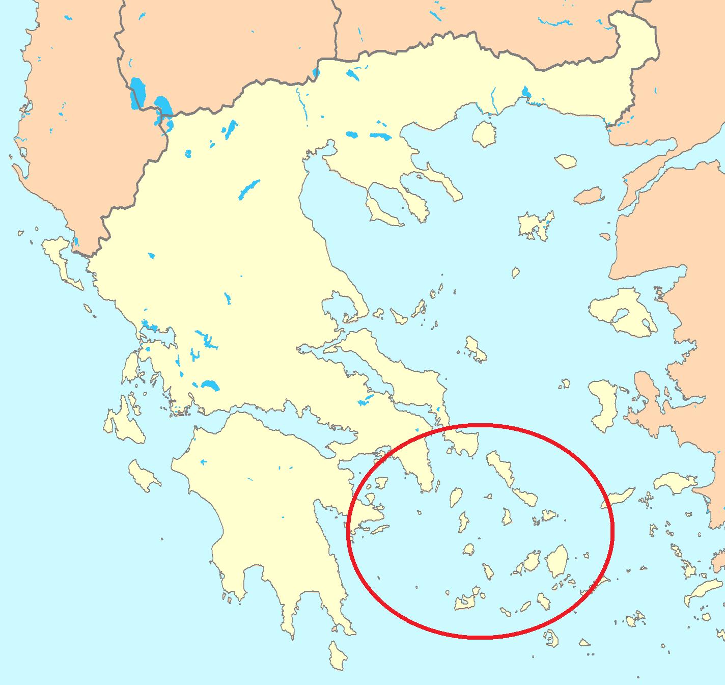 Циклади - карта